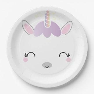 kawaii UNICORN BIRTHDAY party plate 1 9 Inch Paper Plate