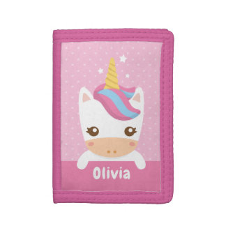 Kawaii Unicorn Kids Pink Personalized Wallet