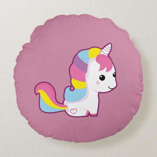 Kawaii Unicorn Round Pillow