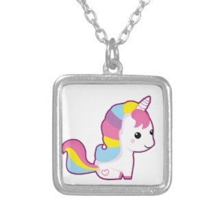Kawaii unicorn silver plated necklace