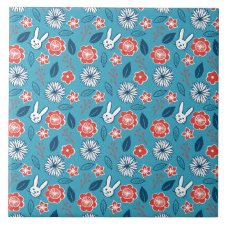 Kawaii Usagi Floral Pattern Ceramic Tile