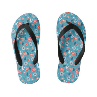 Kawaii Usagi Floral Pattern Kid's Flip Flops