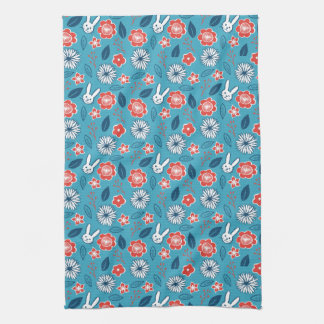 Kawaii Usagi Floral Pattern Kitchen Towel