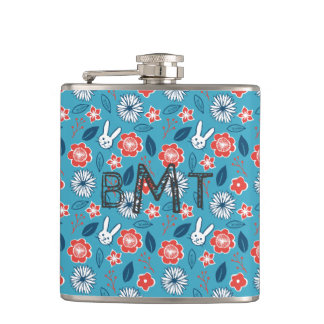 Kawaii Usagi Floral Pattern with Initials Hip Flask