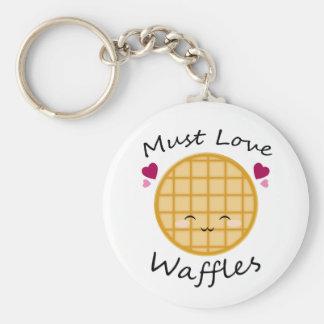 Kawaii Waffle Basic Round Button Keychain