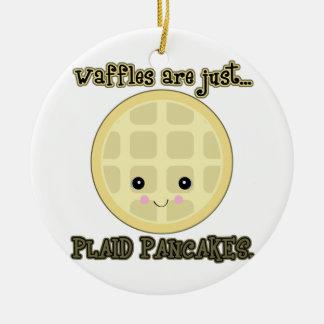 kawaii waffles are just plaid pancakes ceramic ornament
