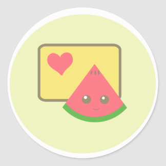kawaii watermelon sticker!! classic round sticker