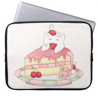 Kawaii Whipped Cream Kitty & Cherry Cake Laptop Computer Sleeve