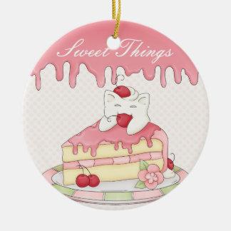 Kawaii Whipped Cream Kitty & Cherry Cake Round Ceramic Ornament