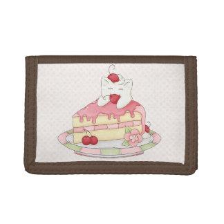 Kawaii Whipped Cream Kitty & Cherry Cake Trifold Wallet