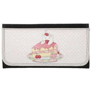 Kawaii Whipped Cream Kitty & Cherry Cake Wallet