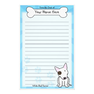 Kawaii White Bull Terrier Stationery (With Spot)