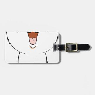 Kawaii white kitten luggage tag