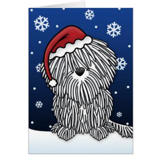 Kawaii White Puli Christmas Card
