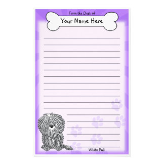 Kawaii White Puli Stationery