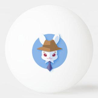 Kawaii White Rabbit Dapper Easter Bunny Ping Pong Ball