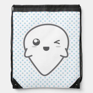 Kawaii Winking Ghost Drawstring Bag
