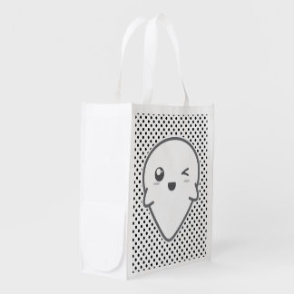 Kawaii Winking Ghost Reusable Bag Reusable Grocery Bags