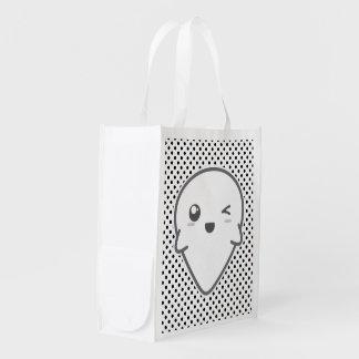 Kawaii Winking Ghost Reusable Bag Reusable Grocery Bags