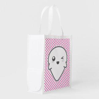 Kawaii Winking Ghost Reusable Bag Reusable Grocery Bag