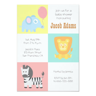 "Kawaii Zoo Animals Theme Baby Shower Invite 5"" X 7"" Invitation Card"