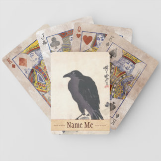 Kawanabe Kyōsai Crow Resting on Wood Trunk art Bicycle Playing Cards