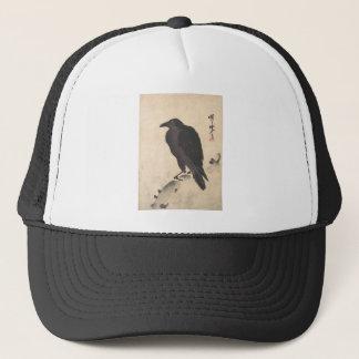 Kawanabe Kyosai Crow Resting on Wood Trunk Art Trucker Hat
