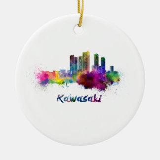Kawasaki skyline in watercolor ceramic ornament
