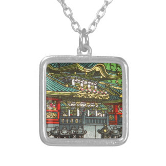 Kawase Hasui 川瀬 巴水: Toshogu Shrine in Nikko Silver Plated Necklace