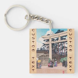 Kawase Hasui Shinto Architecture Meiji Shrine art Double-Sided Square Acrylic Keychain
