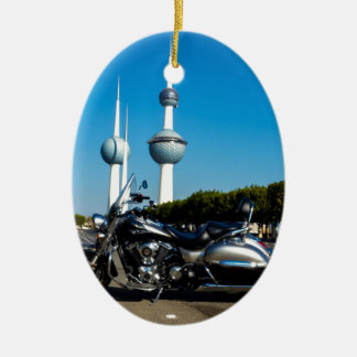 Kawazaki Nomad at Kuwait Towers Ceramic Oval Ornament