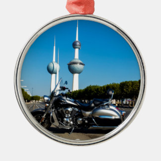 Kawazaki Nomad at Kuwait Towers Silver-Colored Round Ornament