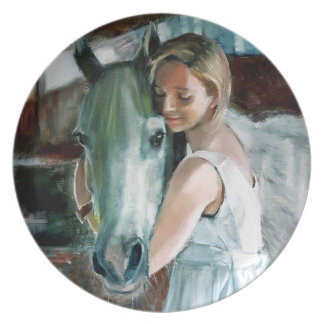 Kay & Blue Oil Painting by Kate Marr Plate
