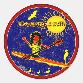 Kayak - c'est comment je roule ! autocollant rond