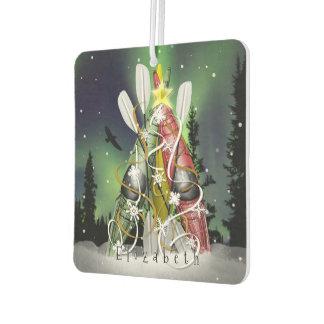 Kayak Christmas Tree Aurora Borealis custom name Air Freshener
