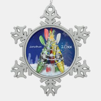 Kayak Christmas Tree custom name and year Pewter Snowflake Ornament
