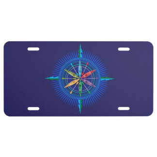 Kayak Compass Rose License Plate