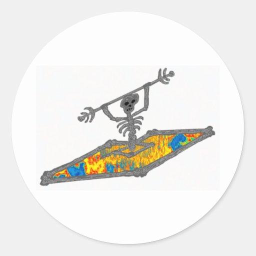 Kayak Hippie Bones Round Stickers