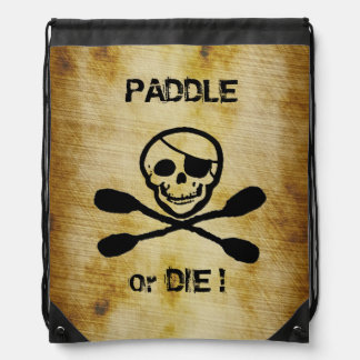 Kayak Jolly Roger Pirate Back Pack Drawstring Bag