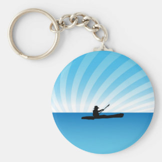 Kayak Man Basic Round Button Keychain