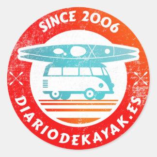 Kayak newspaper logo washed round sticker