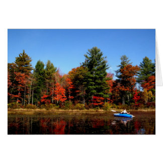 Kayak on a Pond in Autumn Note Card