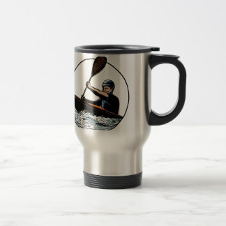Kayak Paddler Canoe Scratchboard Travel Mug