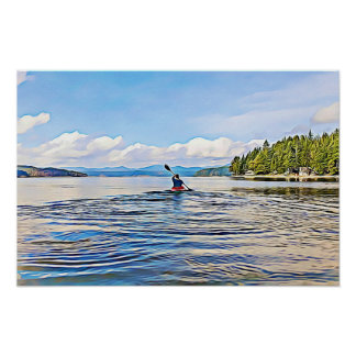 Kayaker on Serene Lake Poster