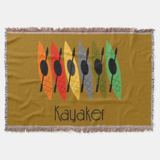 Kayaker Woven Blanket Brown Throw Blanket