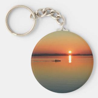 Kayaking at sunset keychain