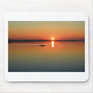 Kayaking at sunset mouse pad