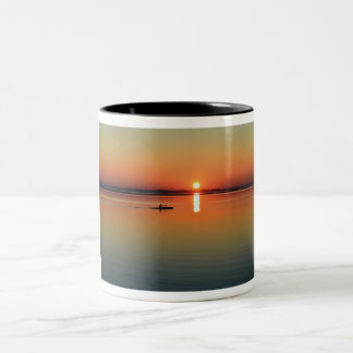 Kayaking at sunset Two-Tone coffee mug