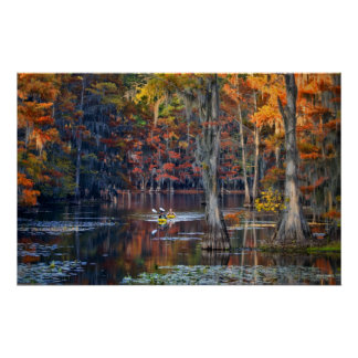 Kayaking - Caddo Lake, Texas - Autumn Poster