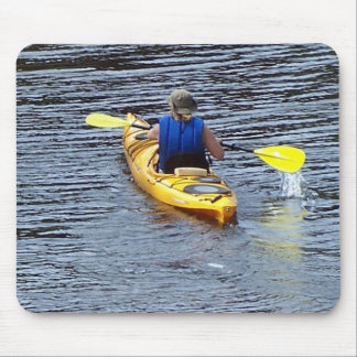 Kayaking down the river mouse pad